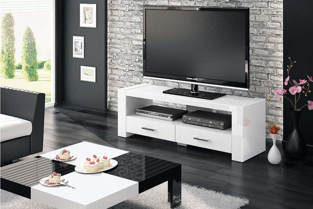 Great Unique TV Cabinets With Drawers Intended For Monaco 2 White Tv Stand (Image 23 of 50)