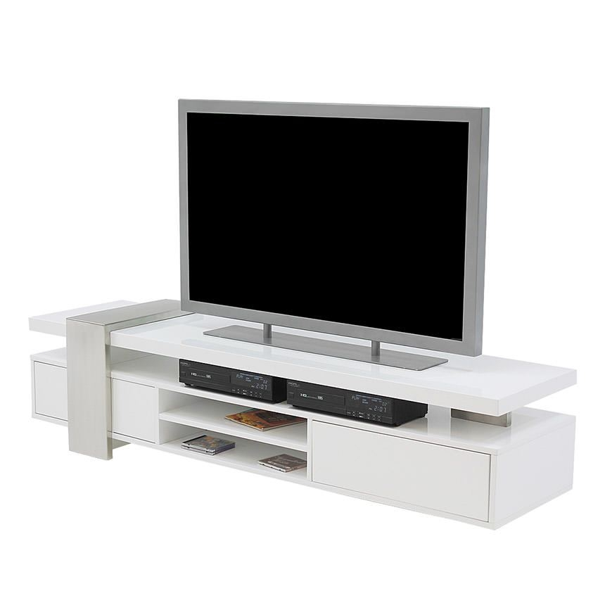 Great Unique White TV Stands Inside Totem White Tv Stand El Dorado Furniture (View 8 of 50)