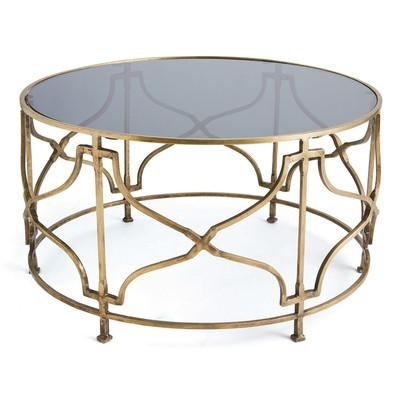 Great Variety Of Antique Brass Glass Coffee Tables With Brass Open Geometric Black Glass Coffee Table (Image 21 of 50)