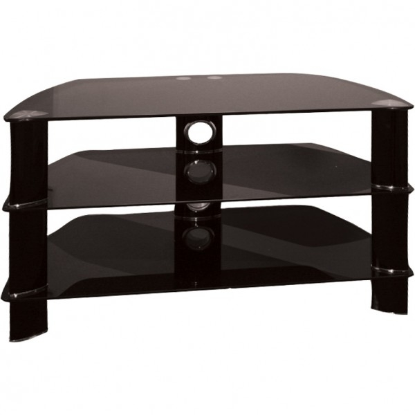 Great Variety Of Black Glass TV Stands For Vortex Black Tv Stand 850mm Jtf (Image 24 of 50)