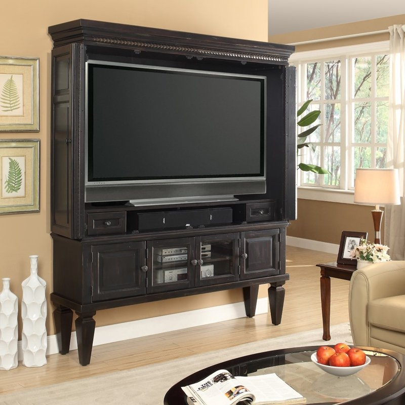 Great Variety Of Black TV Stands With Glass Doors Inside Tv Stands Amazing Armoire Tv Stand 2017 Gallery Modern Tv Armoire (Image 20 of 50)