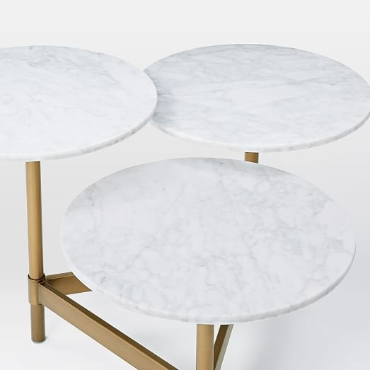 Great Variety Of Circle Coffee Tables Throughout Tiered Circles Coffee Table Marble West Elm (Image 22 of 50)