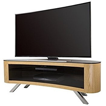 Great Variety Of Curve TV Stands With Regard To Avf Bay Curved Tv Stand In Oak Amazoncouk Electronics (View 15 of 50)