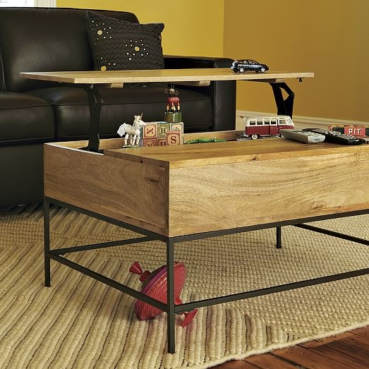 Great Variety Of Desk Coffee Tables Throughout Industrial Storage Coffee Table West Elm (Image 21 of 50)