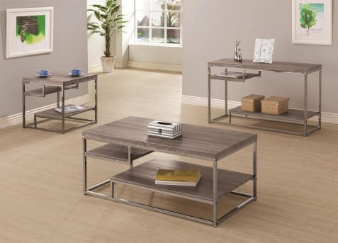 Great Variety Of Grey Coffee Table Sets Inside Alaam 3pc Weathered Grey Coffee Table Set Dallas Tx Occasional (Image 28 of 50)