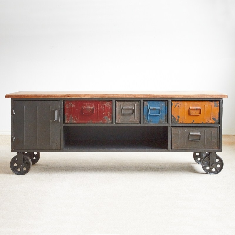 Great Variety Of Industrial TV Cabinets Throughout Online Shop French Village Loft Industrial Coffee Table Vintage (Image 20 of 50)