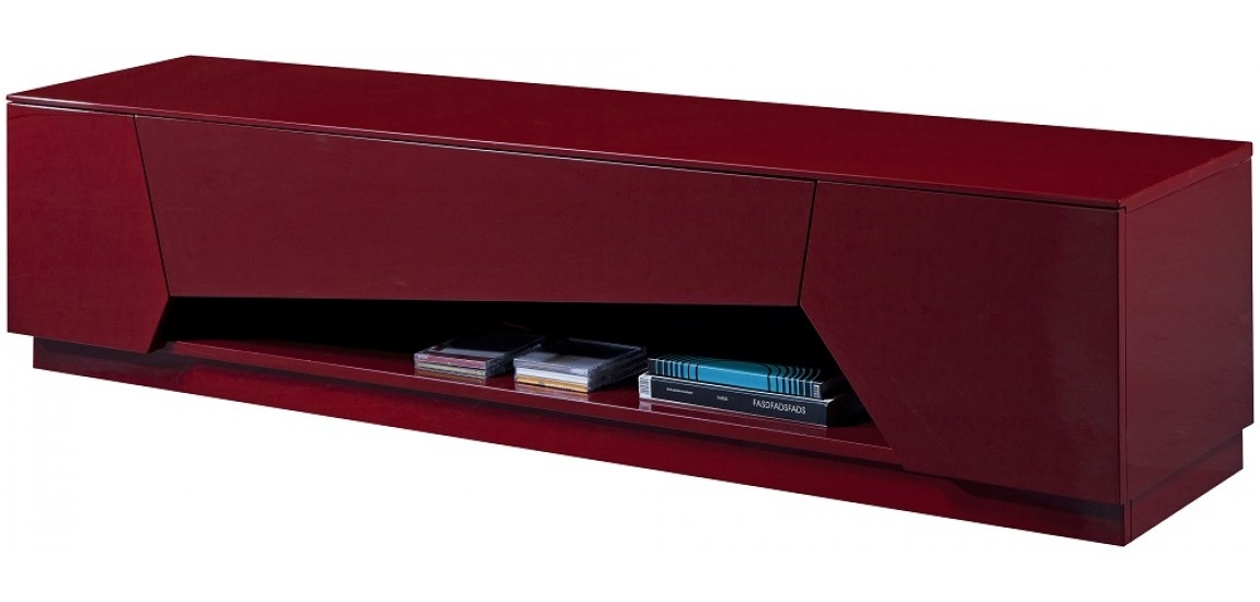 Great Variety Of Long Black TV Stands Regarding Tv125 Modern Long Tv Stand In Red Finish Jm Furniture (View 29 of 50)