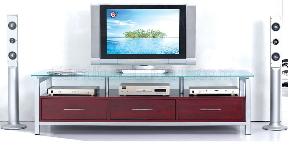 Great Variety Of Modern Glass TV Stands With Mahogany Finish Modern Tv Stand With Glass Top (Photo 19 of 50)
