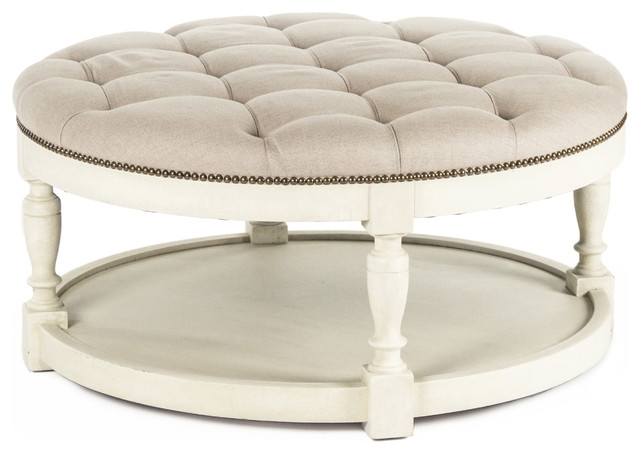Great Variety Of Round Upholstered Coffee Tables For Marseille French Country Cream Ivory Linen Round Tufted Coffee (Image 21 of 40)