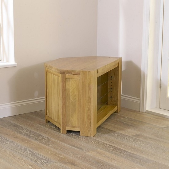 Great Variety Of Solid Oak Corner TV Cabinets In Carnell Wooden Corner Tv Stand In Solid Oak With Glass (View 14 of 50)