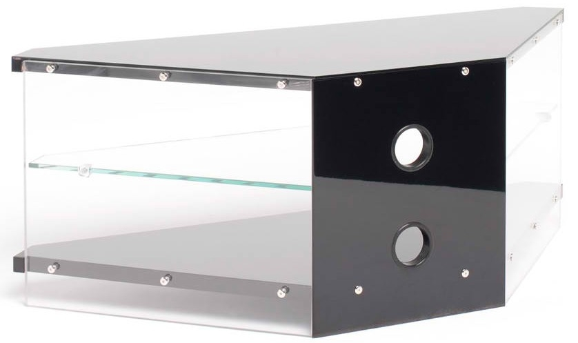 Great Variety Of Techlink Air TV Stands In Techlink Gloss Black Air Ai110bc Acrylic And Glass Corner Tv Stand (Image 25 of 50)