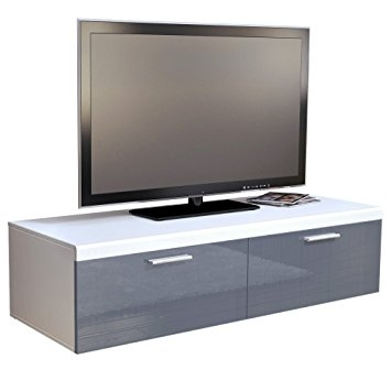Great Variety Of White Gloss TV Stands With Regard To Tv Stand Unit Atlanta In White Matt Grey High Gloss Amazonco (Image 28 of 50)