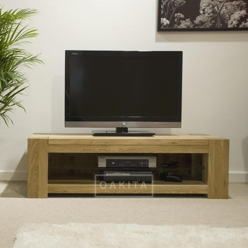 Great Variety Of Wide TV Cabinets For St Ives Oak Wide Low Tv Cabinet Oak Tv Stands Entertainment (Image 24 of 50)