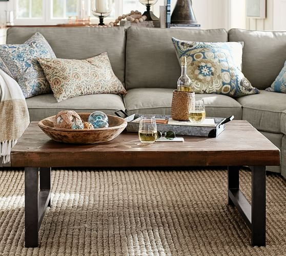 Great Well Known Antique Glass Pottery Barn Coffee Tables Regarding Griffin Reclaimed Wood Coffee Table Pottery Barn (View 29 of 50)