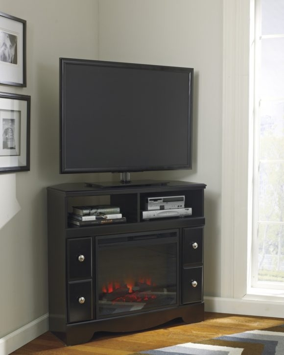 Great Well Known Black Corner TV Cabinets With Furniture The Most Valuable Corner Tv Stand With Fireplace For (View 44 of 50)