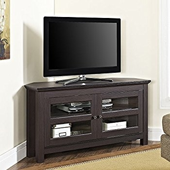 Great Wellknown Corner TV Stands For 55 Inch TV With Regard To Amazon Sauder Harbor View Corner Tv Stand In Antiqued Paint (View 36 of 50)