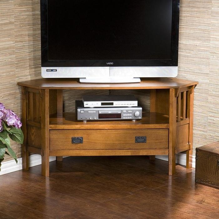 Great Well Known Dark Wood Corner TV Stands  Inside Carson Oak Corner Tv Stands At Brookstonebuy Now (Image 22 of 50)