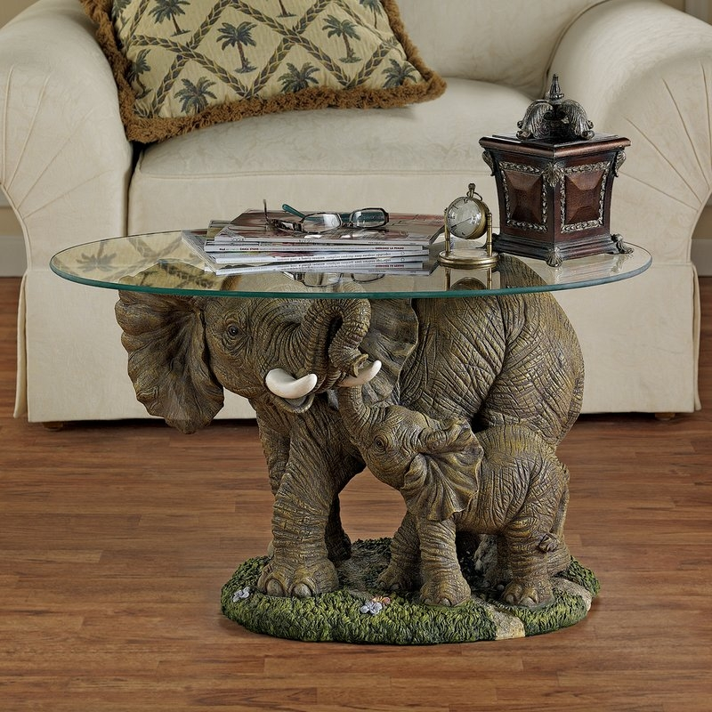 Great Well Known Elephant Glass Top Coffee Tables Inside Design Toscano Elephants Majesty Coffee Table With Glass Top (Image 19 of 50)