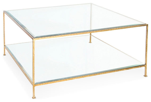 Great Well Known Glass Gold Coffee Tables For Cabot Hollywood Regency Gold Glass Coffee Table Transitional (View 22 of 50)