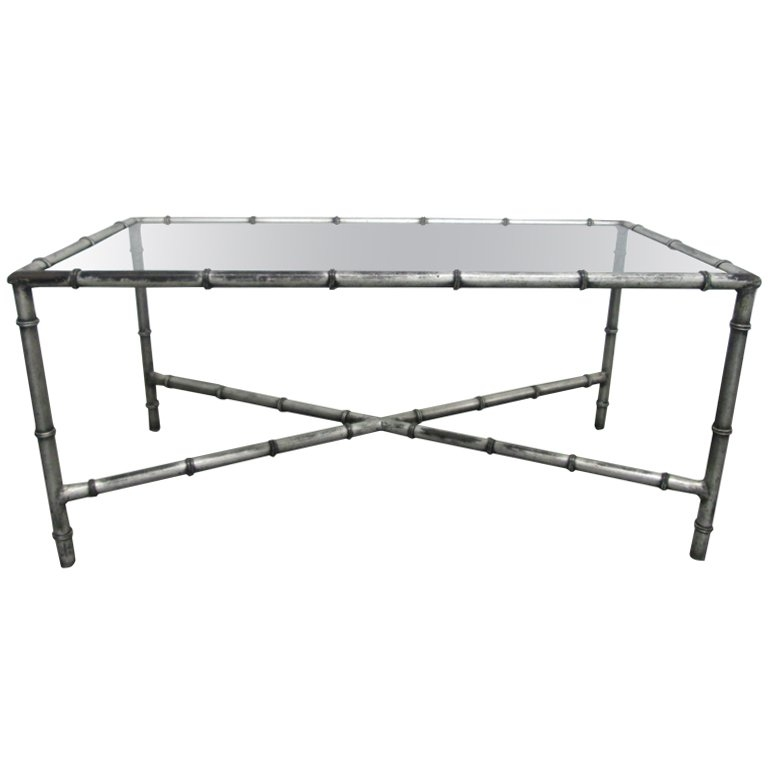 Great Wellknown Iron Glass Coffee Table Throughout Faux Bamboo Iron And Glass Top Coffee Table For Sale At 1stdibs (Image 27 of 50)