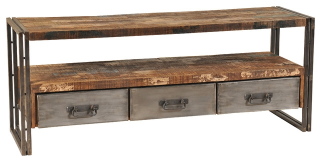 Great Well Known Metal And Wood TV Stands Within Reclaimed Wood And Metal Plasma Tv Stand Industrial (Image 21 of 50)