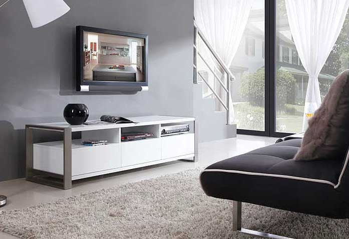 Great Well Known Modern White TV Stands With Regard To Modern White Tv Stand Bm4 Tv Stands (Image 25 of 50)