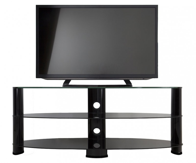 Great Wellknown Oval Glass TV Stands With Ovl1400bb Reflections Oval Glass Tv Stand Tv Stands (View 28 of 50)