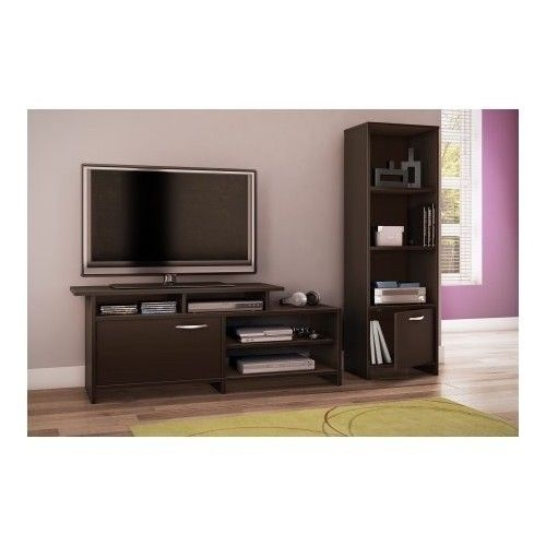 Great Wellknown TV Stands For Small Rooms Regarding Black Tv Stand Flat Screen For 52 Inch Television Entertainment (View 13 of 50)