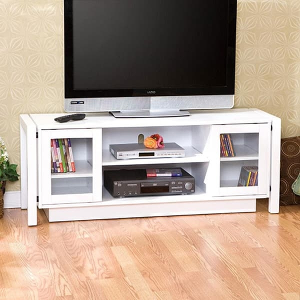 Great Wellknown White TV Stands Within White Tv Stand Media Console Free Shipping Today Overstock (Image 25 of 50)