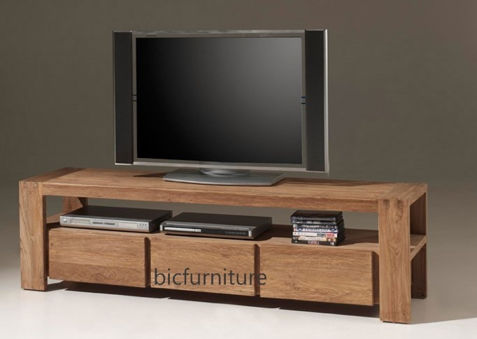 Great Wellknown Wooden TV Cabinets Intended For 3 Drawer Stylish Tv Cabinet Made Of Teakwood Bic Entertainment Units (View 8 of 50)