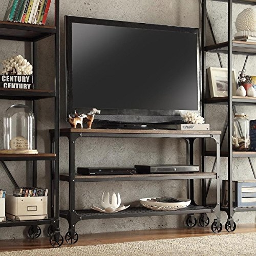 Great Well Known Wooden TV Stands With Wheels Within Amazon Modern Industrial Rustic Riveted Black Metal Wood Tv (Image 26 of 50)