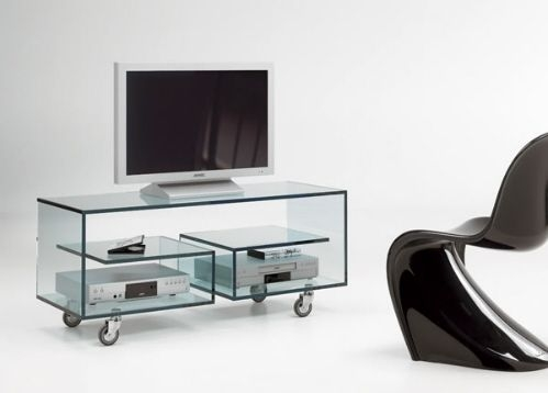 Great Wellliked Contemporary Glass TV Stands For Best 25 Tv Stand With Wheels Ideas On Pinterest Storage Box (Image 19 of 50)