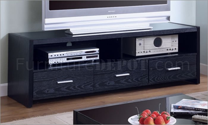 Great Wellliked Modern Black TV Stands With Regard To Black Matte Finish Contemporary Tv Stand Wthree Drawers (View 31 of 50)