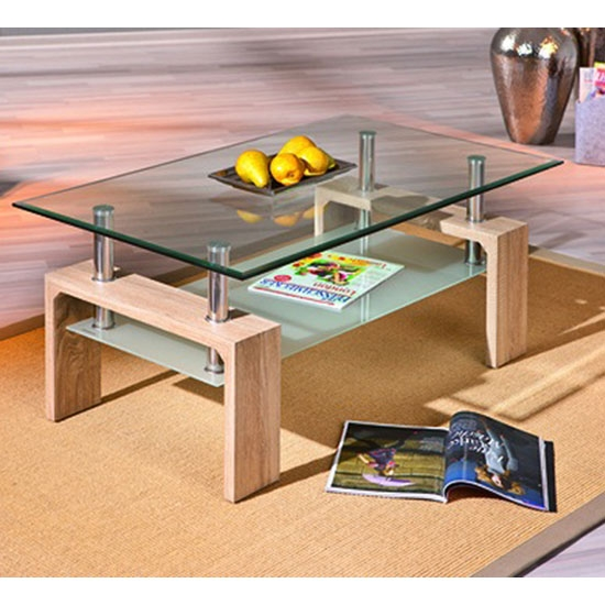 Great Wellliked Oak And Glass Coffee Tables Intended For Loana Glass Coffee Table With Undershelf And Oak Legs (View 18 of 50)