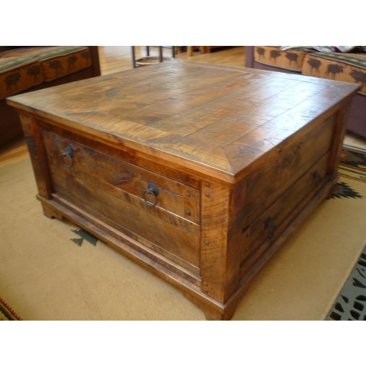 Great Wellliked Rustic Barnwood Coffee Tables Inside Rustic Square Chest Coffee Table (View 40 of 50)