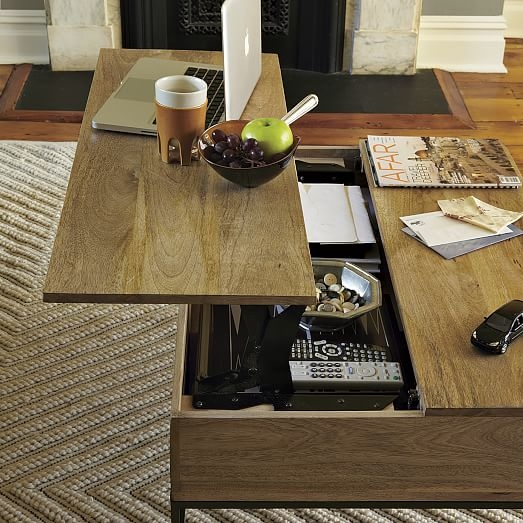 Great Wellliked Storage Coffee Tables Intended For Industrial Storage Coffee Table West Elm (View 5 of 50)