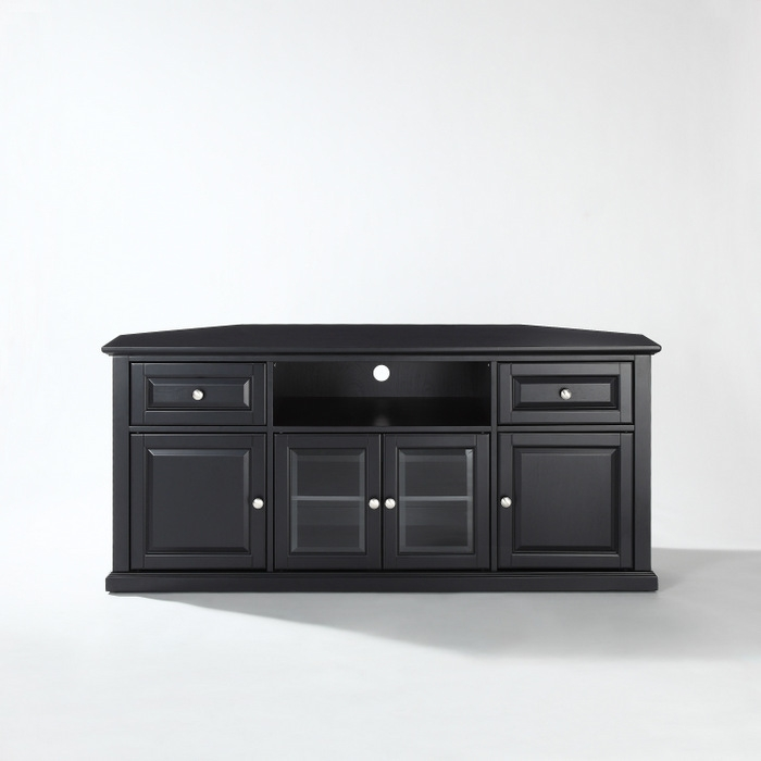 Great Widely Used Black Corner TV Cabinets With Crosley 60 Inch Corner Tv Cabinet Stand At Brookstonebuy Now (View 4 of 50)