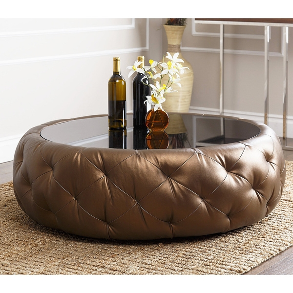 Great Widely Used Brown Leather Ottoman Coffee Tables For Living Room The Catchy Round Leather Coffee Table With Within (View 45 of 50)