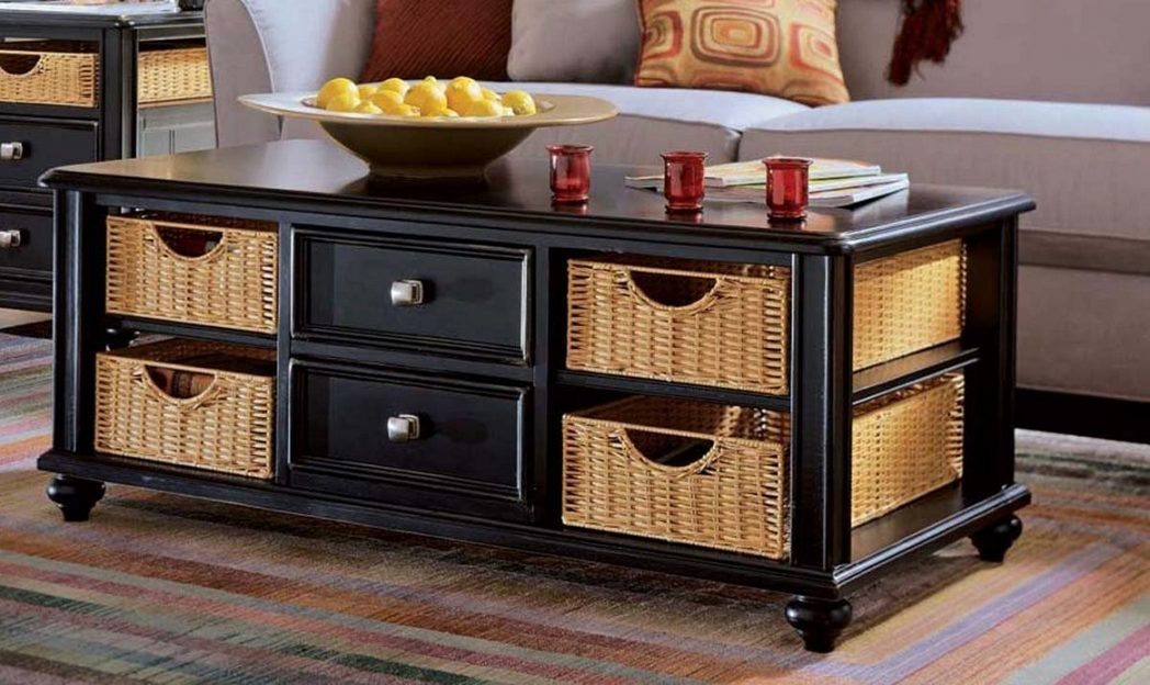 Great Widely Used Coffee Tables With Baskets Underneath Regarding Bedroom Pleasant Table Baskets Coffee Tables Wicker Basket Is Also (Image 19 of 40)