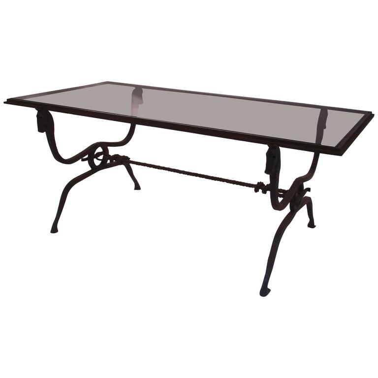 Great Widely Used Iron Glass Coffee Table Regarding French Horse Head Wrought Iron And Glass Coffee Table Jean (Image 28 of 50)
