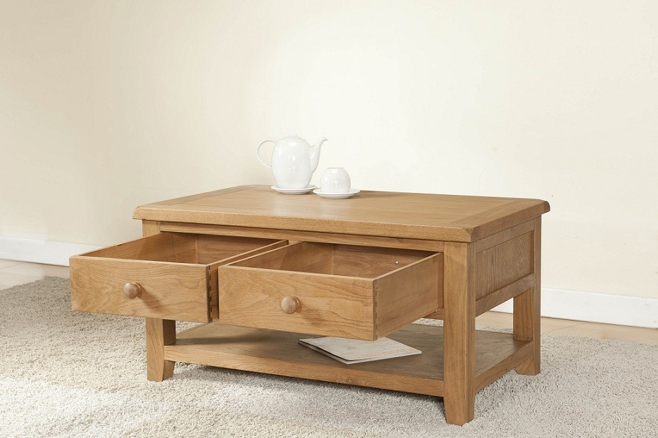 Great Widely Used Light Oak Coffee Tables With Drawers With Cotswold Rustic Light Oak Coffee Table With Drawers Oak Furniture Uk (View 26 of 40)