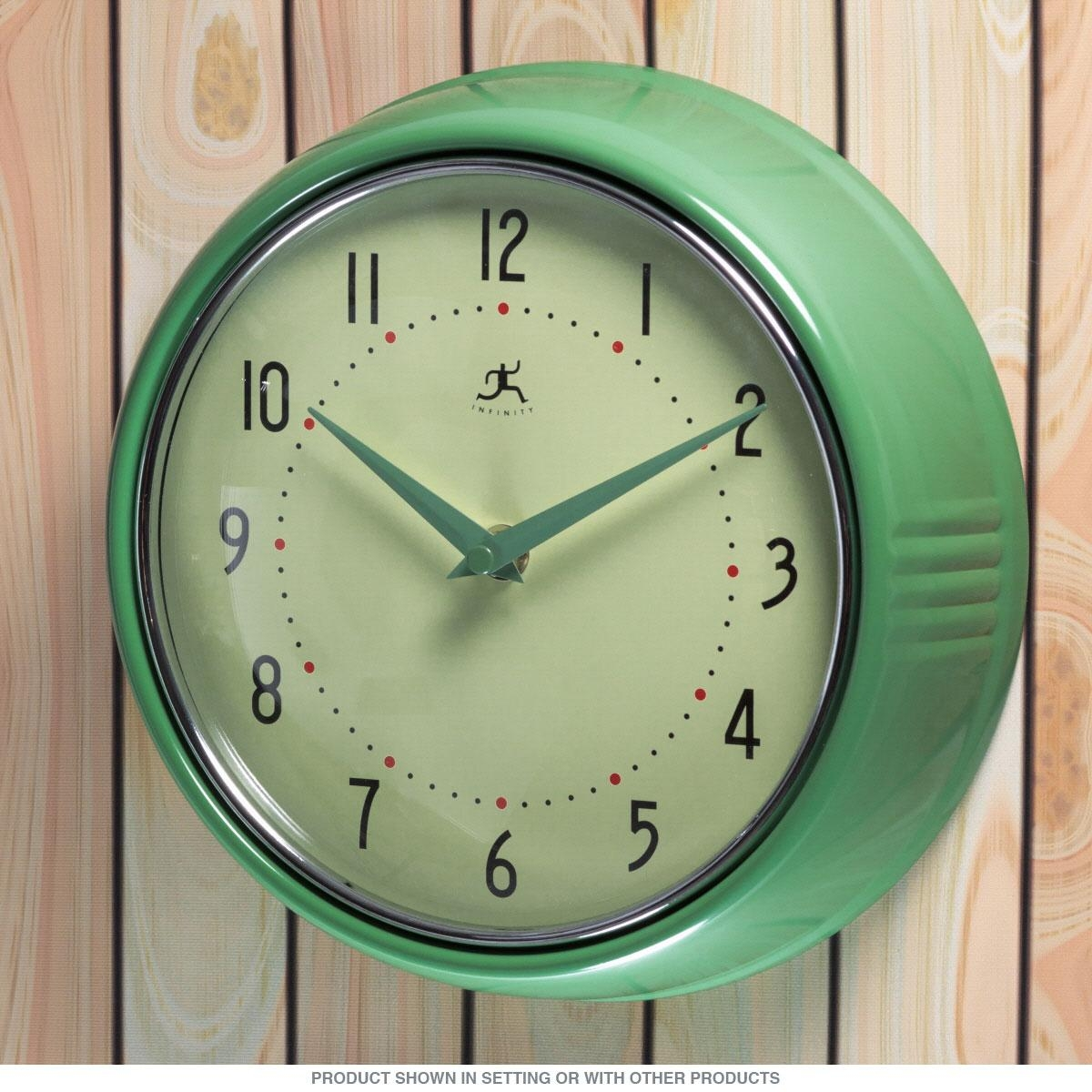 Green Fifties Style Kitchen Wall Clock | Infinity Wall Clocks Throughout Retro Wall Mirrors (Image 12 of 20)
