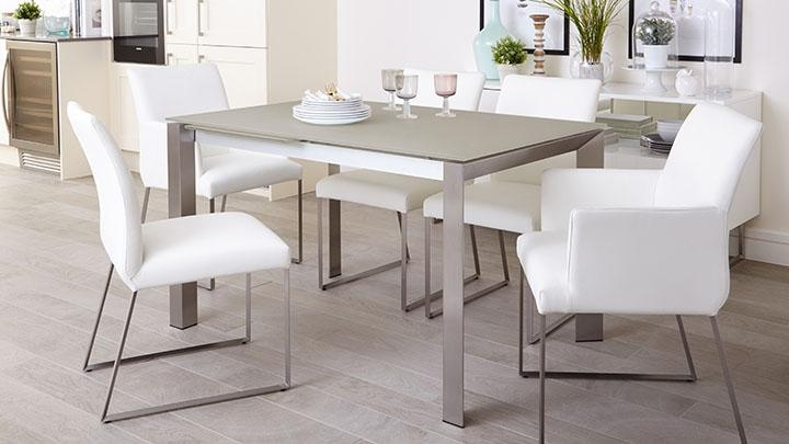 Grey Frosted Glass Dining Table | Extending Dining Table Uk In Brushed Metal Dining Tables (Image 14 of 20)