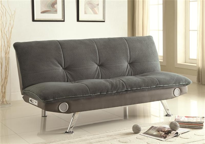 Grey Futon Sofa Bed With Built In Bluetooth Speakercoaster With Regard To Coaster Futon Sofa Beds (Image 17 of 20)