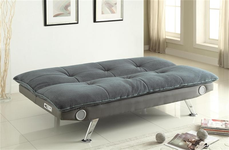 Grey Futon Sofa Bed With Built In Bluetooth Speakercoaster Within Coaster Futon Sofa Beds (Image 18 of 20)