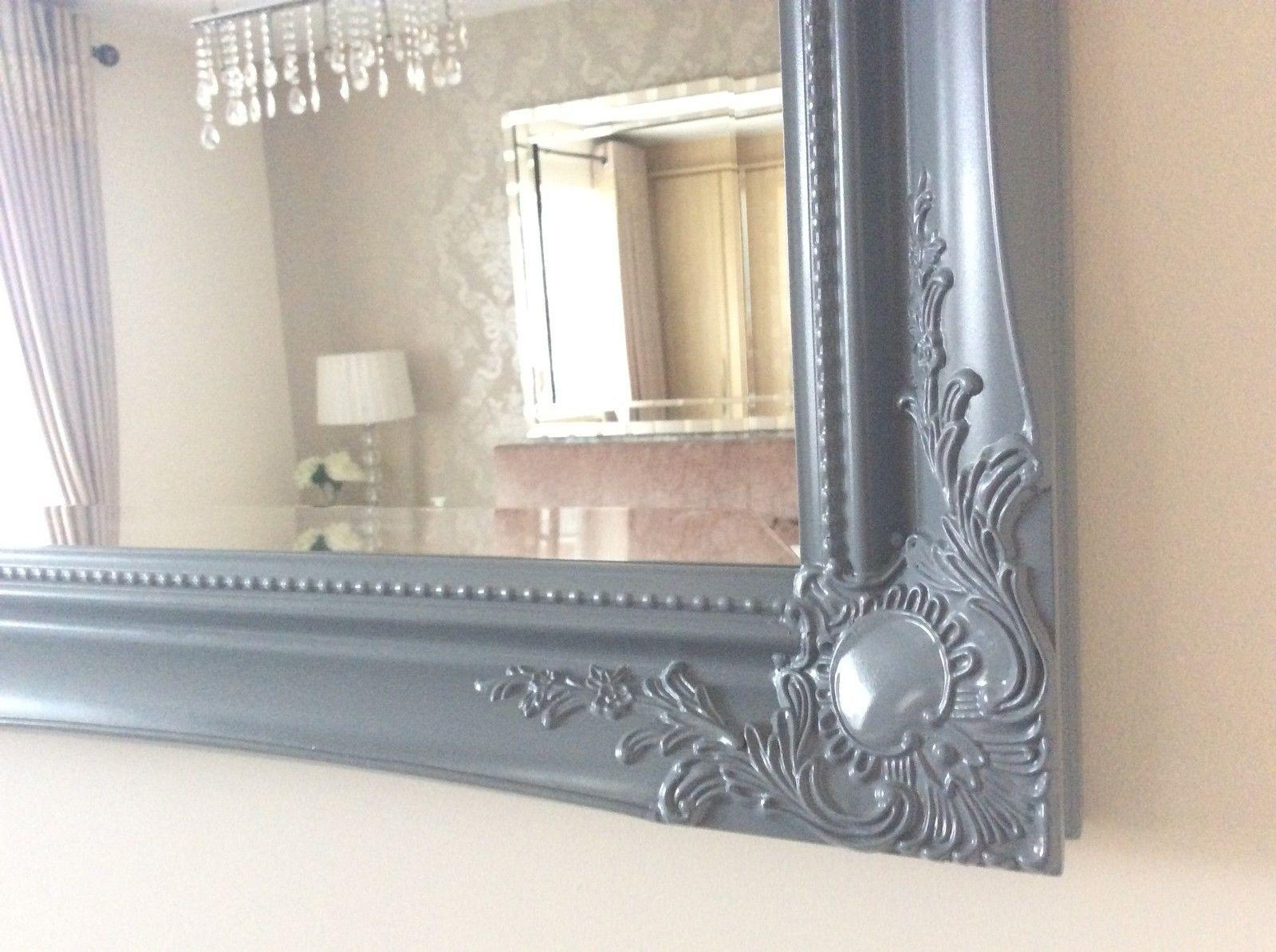 Grey Satin Shabby Chic Ornate Decorative Over Mantle Gilt Wall Mirror In Shabby Chic Large Mirror (Image 8 of 20)