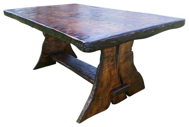 Griffith Rustic Black Walnut Trestle Dining Table – Rustic Pertaining To Walnut Dining Tables (Image 12 of 20)