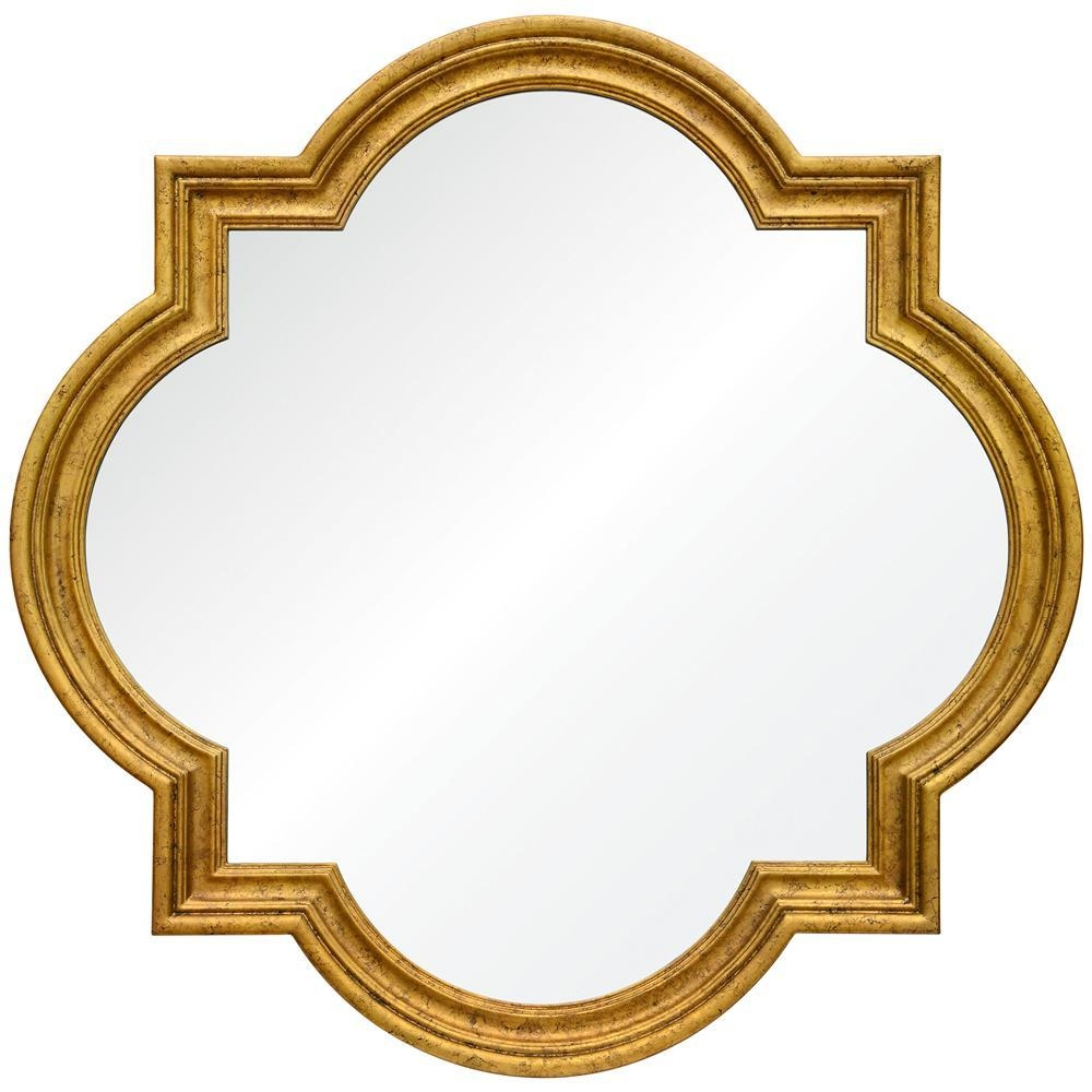 Grove Hollywood Regency Antique Gold Leaf Quatrefoil Mirror Within Gold Antique Mirror (Image 12 of 20)