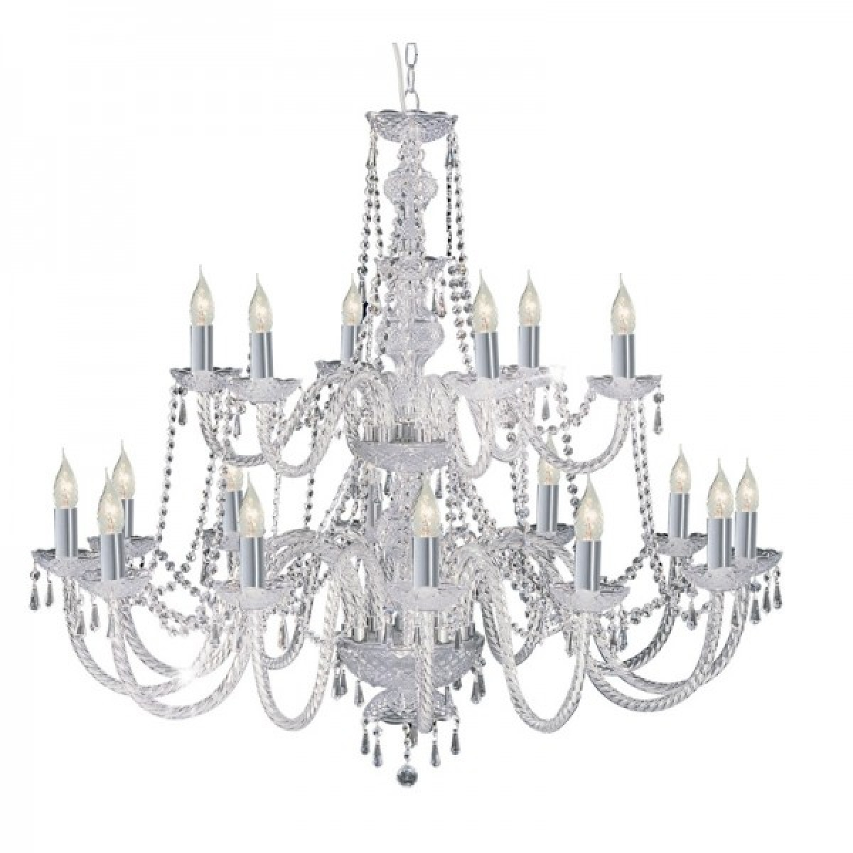 Hale Georgian Style Crystal Chandelier With Barley Twist Glass And With Chrome And Crystal Chandeliers (Image 17 of 25)