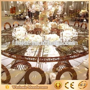 Half Moon Round Shape Dubai Dining Tables And Chairs For Banquet Intended For Round Half Moon Dining Tables (Image 13 of 20)